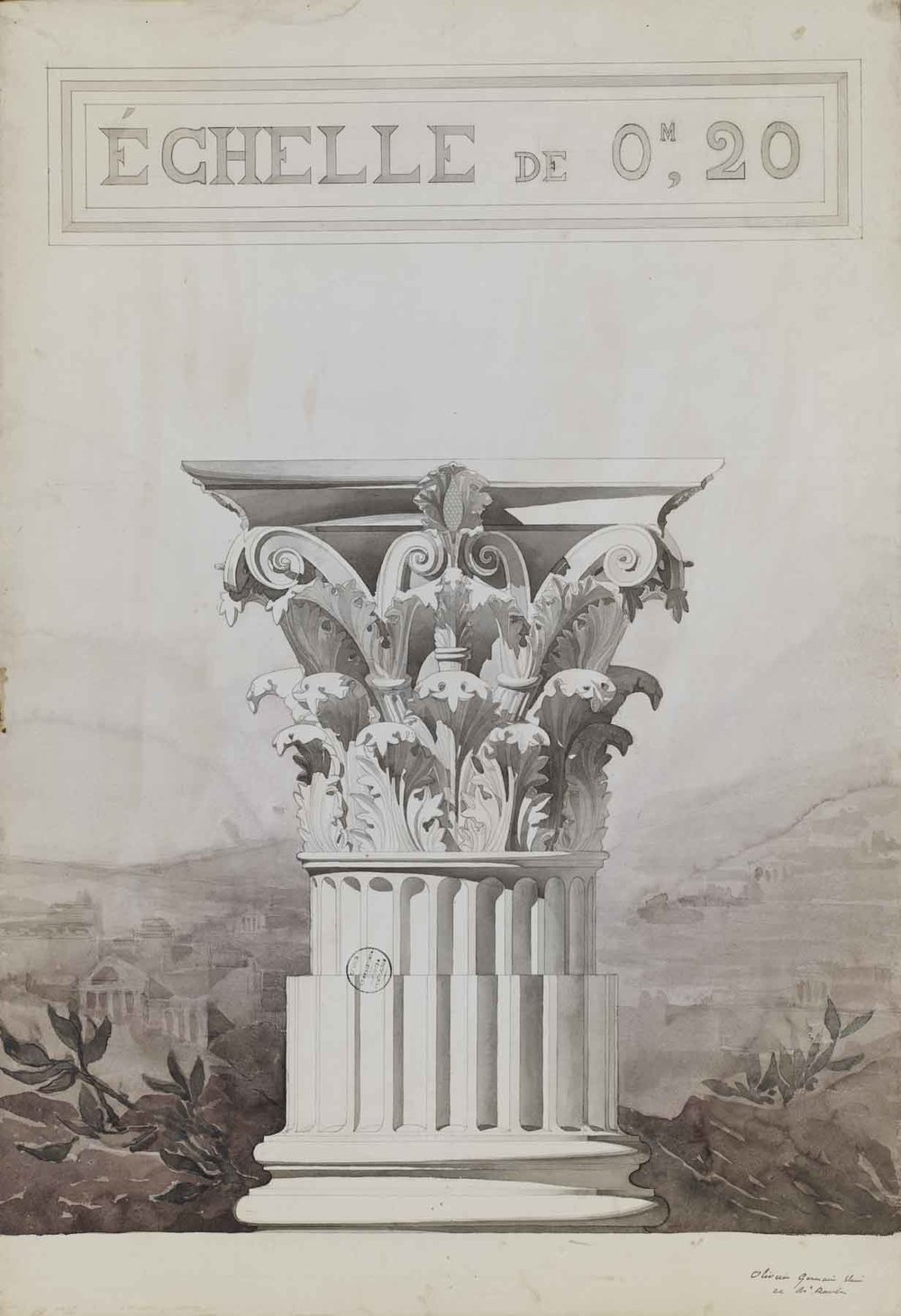 "Jules-Germain Olivier (French, 1869-1940),  Study of a Corinthian Column Capital,  1890-1900, pencil and watercolor on paper, 43 3/4 x 31 7/8"" framed"