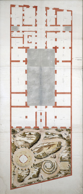 "François Leonard Seheult (French, 1771-1840)  Plans of Building and Formal Gardens , 19th century pencil, ink and watercolor on paper, 55 1/2 x 25 3/4"" framed"