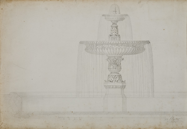 "Jean-Baptiste Plantar (French, 1790-1879),  Fountain Design , 19th century, pencil on paper, 21 1/2 x 27 1/4"" framed"