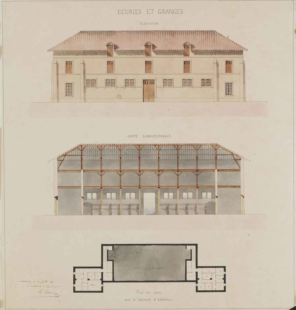 "Théodore Olivier (French, 1821-1899),  Stables and Barns: elevation, cross-section and plan,  1853, pencil and watercolor on paper, 34 1/4 x 32 1/4"" framed"