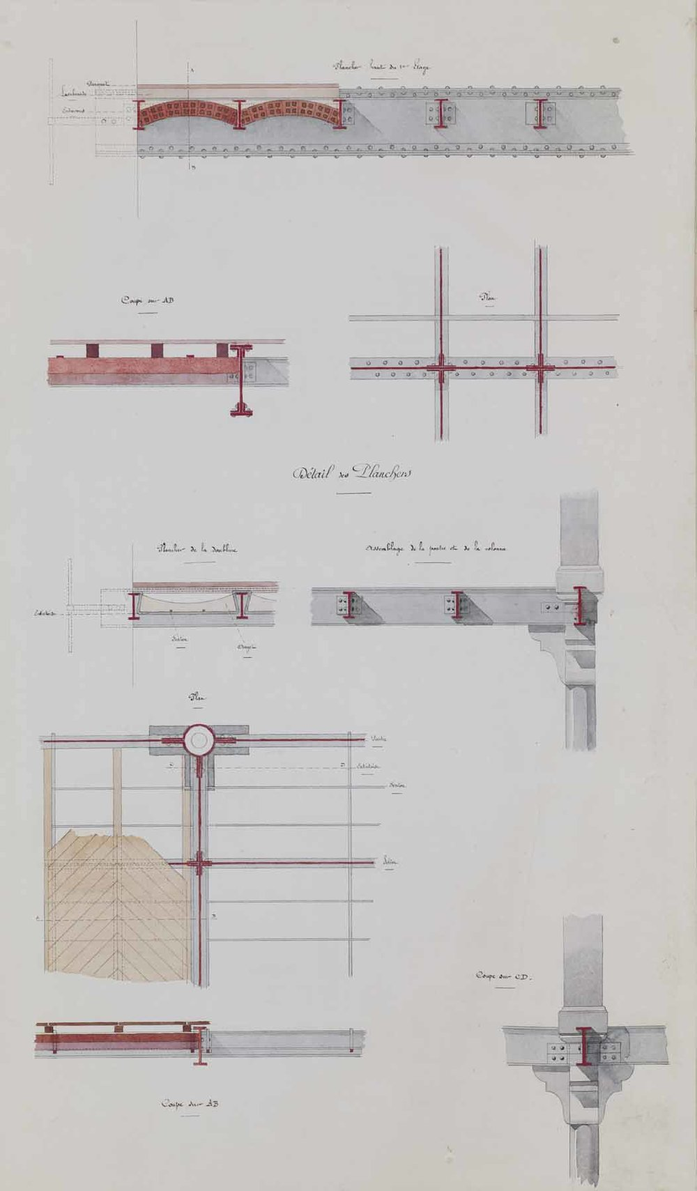 "Jules-Germain Olivier,  Ironwork: Details of the Floors,  c. 1890-1900, ink and watercolor on paper, 41 1/4 x 26 1/4"" framed"