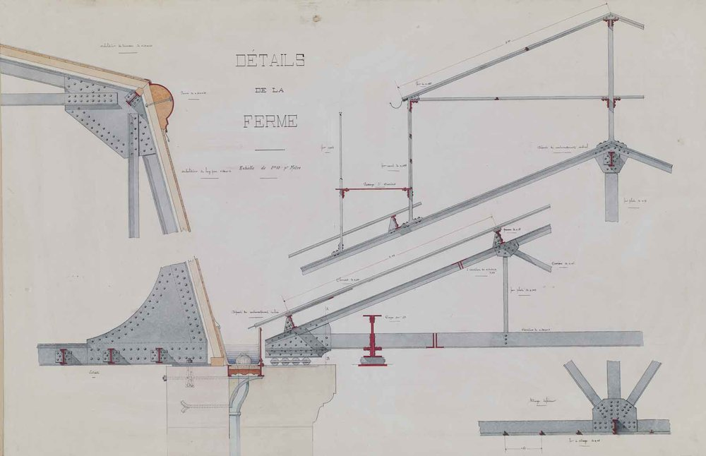 "Jules-Germain Olivier,  Ironwork: Details of the  Roof Truss, c. 1890-1900, ink and watercolor on paper, 33 1/4 x 44 3/4"" framed"