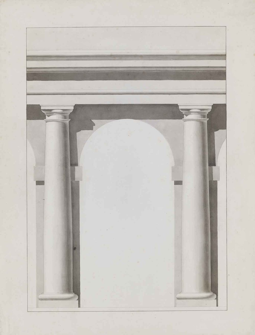 "Théodore Olivier,  Study of Columns,  c. 1840, ink and lavis (wash) on paper, 31 1/2 x 25 1/2"" framed"