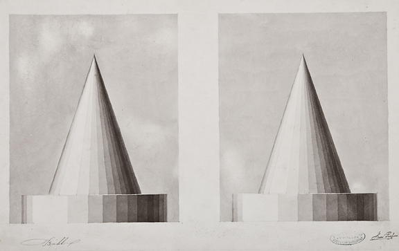 Henri Puet,  Cone Studies,  19th century, bistre on paper, 12 1/4 x 19""