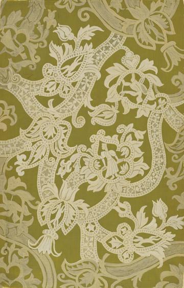 """Emile Didier, Lyon, 1890-1964, Lace design , gouache, 19 x 12 3/8"""""""