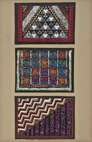 Maurice Leonard, Lyon, 1899-1971,  Three textile designs,  early 20th c., gouache, 19 3/4 x 9 1/4""