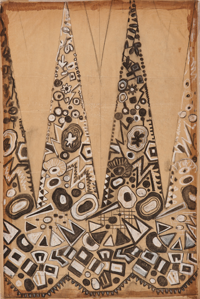 Maurice Leonard, Lyon, 1899-1971,  Textile design with black and white spires,  early 20th c., gouache, 20 3/4 x 13 5/8""