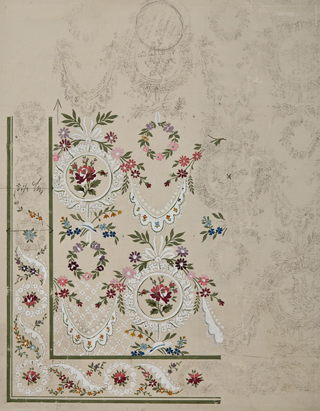Ecole Lyonnaise, 19th century,  Textile design with flowered wreaths,  pencil and gouache on paper, 14 1/4 x 11 1/4""