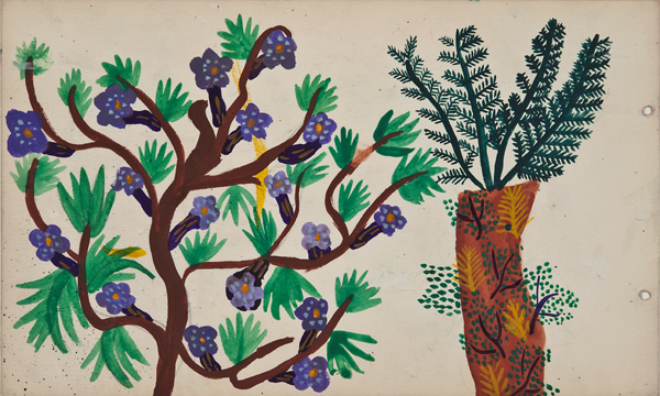 Martine Le Cours Pour Maison Paul Poiret (1879-1944), France,  Design Project: Purple Nightshade,  c. 1910, pencil and gouache, 11 x 14 1/4""