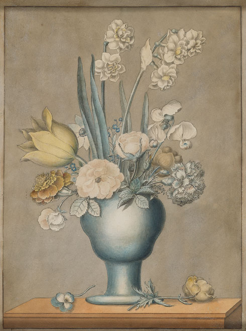 J.J. Prin, French, 19th c.,  Floral Still Life,  watercolor and pencil, 14 x 11""