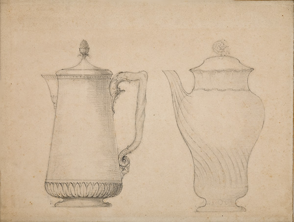 Louis Brocard, French, active 1870s-1910s,  Design for a cafetière [coffee-pot] - two versions,  early 20th c., graphite, 8 1/4 x 11""