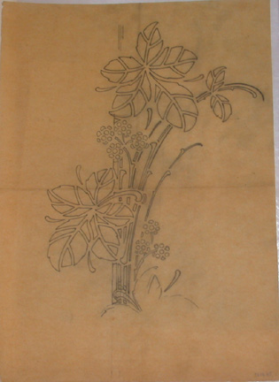 Louis Brocard, French, active 1870s-1910s,  Enamel design; incorporating leaves and stylized flowers,  early 20th c., graphite, 15 x 10 7/8""