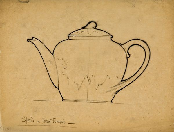 Louis Brocard, French, active 1870s-1910s,  Design for a teapot,  early 20th c., graphite, 8 1/4 x 11""