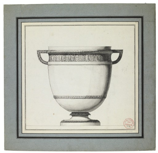 "Jean-Guillaume Moitte, French, 1945-1810,  Design for a silver wine cooler with a frieze of palm leaves,  black lead, pen and grey ink wash, 16 3/4 x 17 1/2"". Sold."