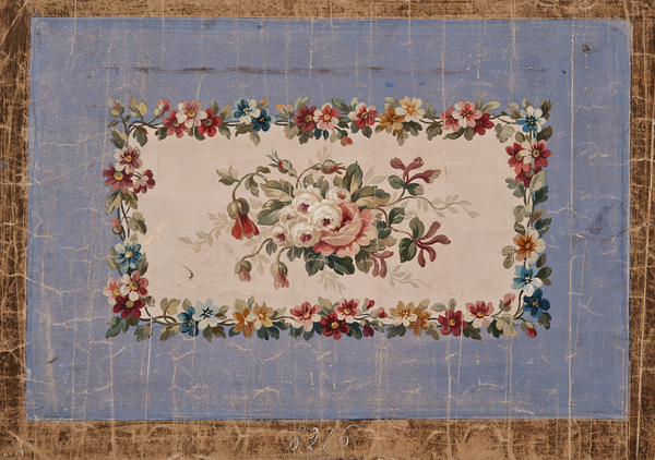 French, 19th c.,  Aubusson Tapestry Design,  gouache