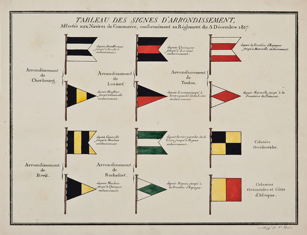 C. Motte, French,  Tableau des Signes d'Arrondissement, Marine Standards,  c. 1820, hand colored lithograph, 9 1/2 x 12""