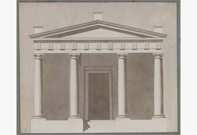 "Théodore Olivier,  Study of a Temple Facade,  c. 1840, ink and  lavis  (wash) on paper, 31 1/2 x 35 1/2"" framed"