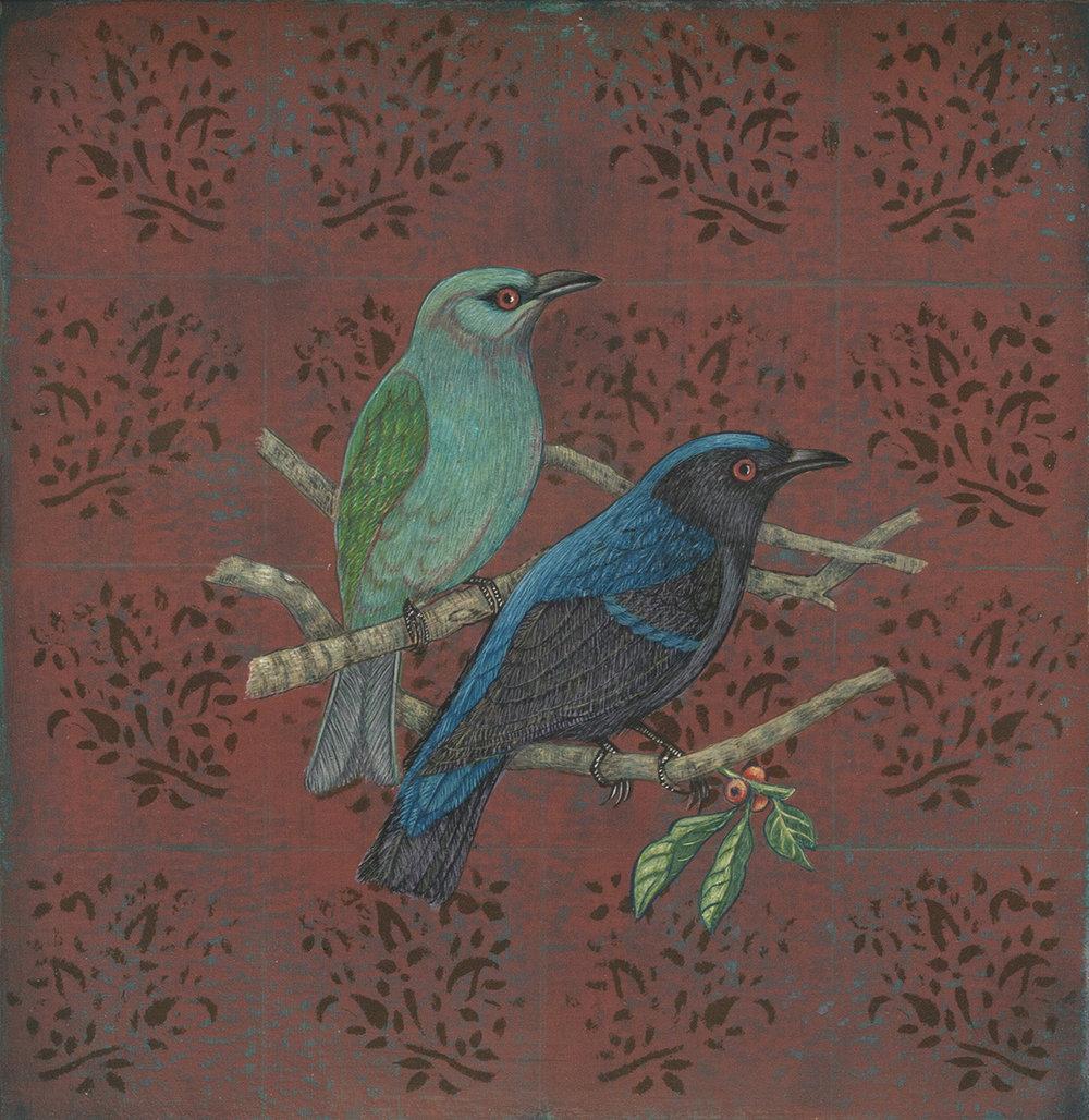 "Antonia Munroe, Fairy Bluebirds,  2016, pigment dispersion on panel, 8 5/16 x 8 5/16"" framed"