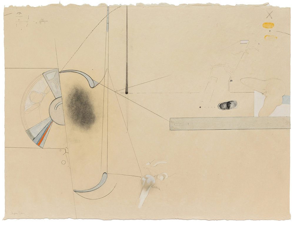 Stephen Greene,  Biograph 23,  1967, mixed media on paper, 21 1/2 x 28 3/4""