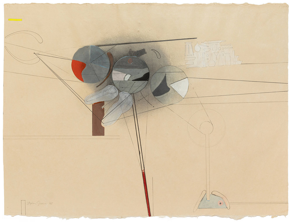 Stephen Greene,  Untitled,  1968, mixed media on paper, 21 1/4 x 28 5/8""