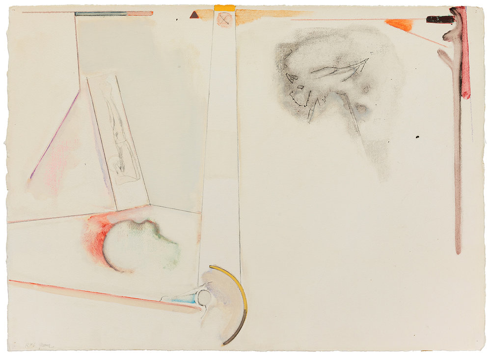 Stephen Greene,  R. 6  ,  1973, mixed media on paper, 22 x 30""