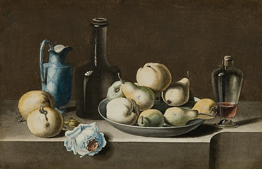 J.J. Prin, French, 19th c.,  Still Life with Pears and Apples,  watercolor and gouache, 12 x 15""