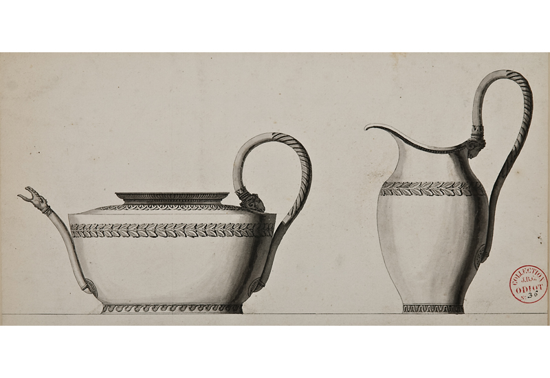 Jean-Guillaume Moitte, French, 1945-1810,  Design for a silver teapot and jug,  black lead, pen and grey ink wash, 16 1/8 x 24 1/2""