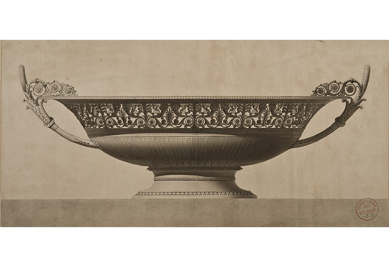 "Jean-Guillaume Moitte, French, 1945-1810,  Design for a silver tazza with an elaborate frieze of cornucopiae,  black lead, pen and grey ink wash, 9 7/8 x 20 3/8"". Sold."