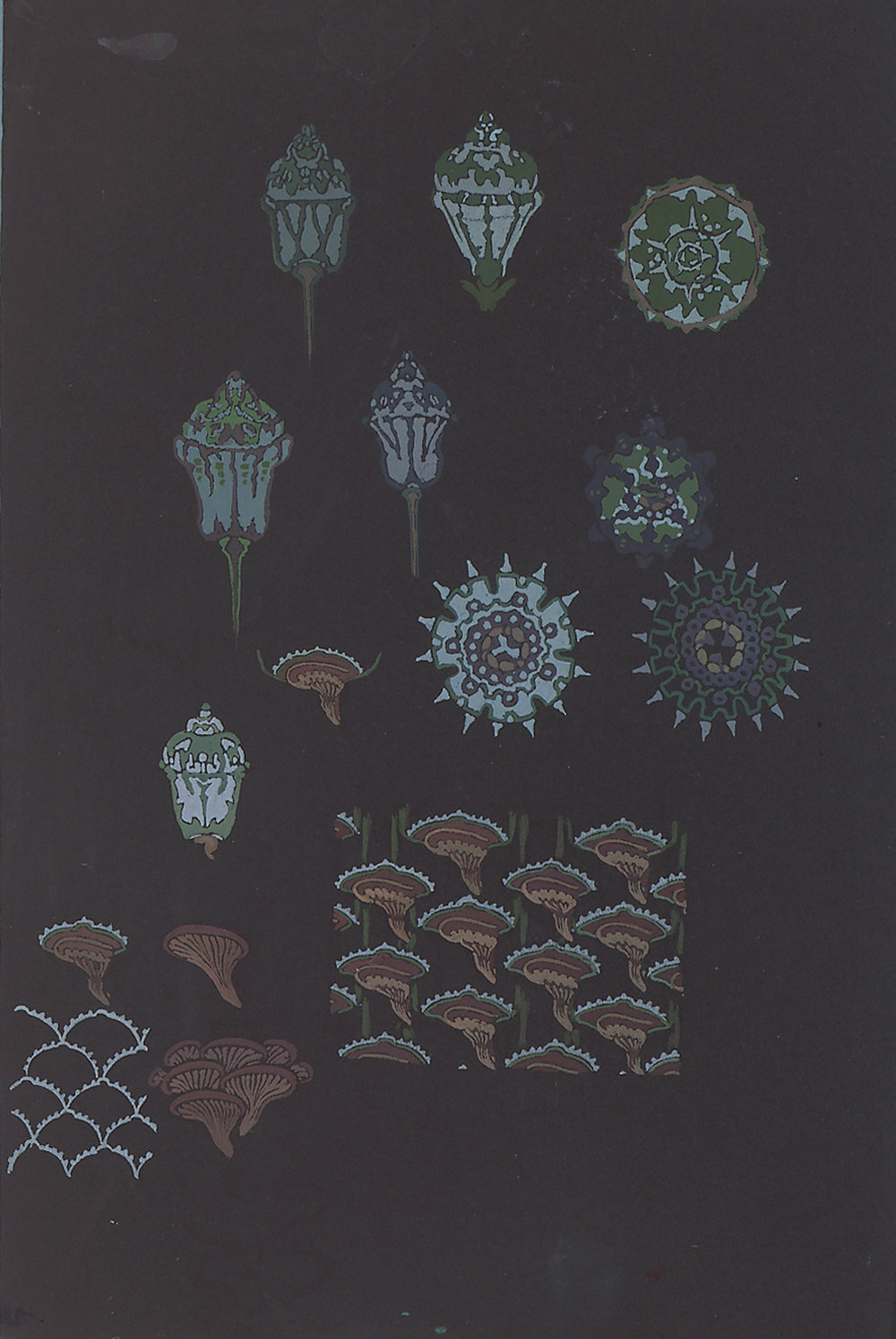 Anne-Marie Fontaine, French, d. 1940,  Design for Sèvres Porcelain,  c. 1930, gouache, 21 x 14 1/2""