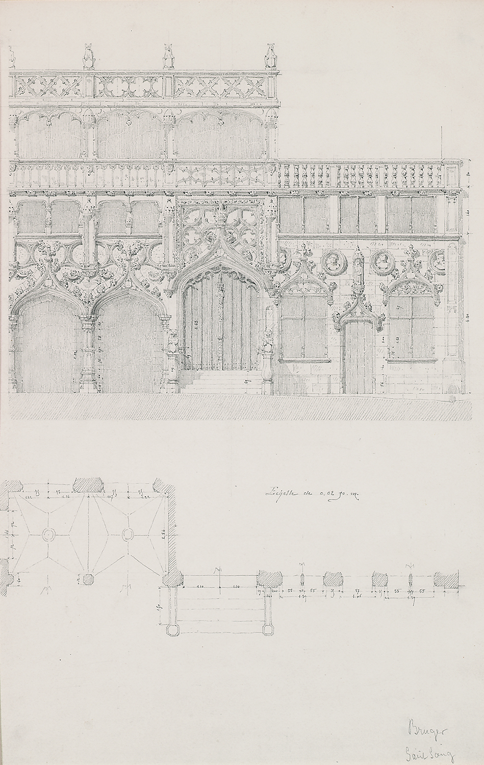 "August Gagey,  Façade: Bruges Saint Sang, Bruges, Belgium , pencil and ink on paper, 25 1/8 x 18"" matted"