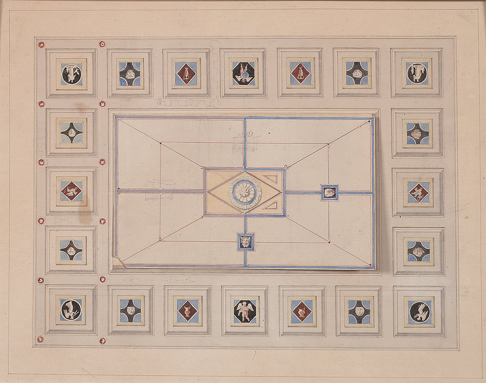 "French, late 19th century,  Coffered Ceiling Design,  pencil, ink, bistre and watercolor on paper, 15 1/2 x 18 1/4"" matted"