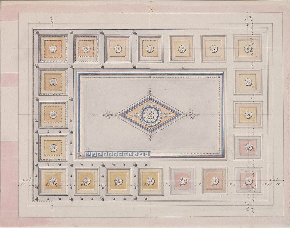 French, late 19th century,  Coffered Ceiling Design,  pencil, ink, bistre and watercolor on paper, 13 1/4 x 10 3/4""
