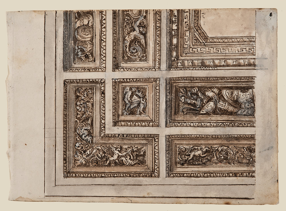 "Italian School, c. 1800,  Architectural Detail 1436,  ink, lavis (wash) and gouache on paper, 14 x 15 1/2"" framed"