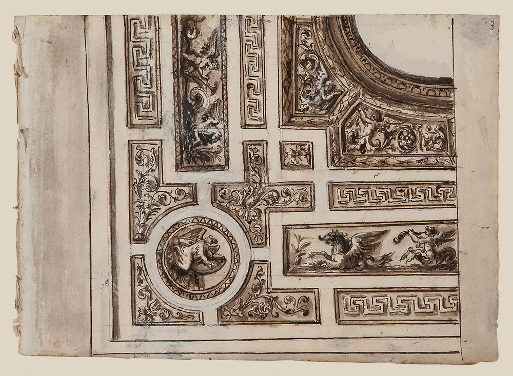 "Italian School, c. 1800,  Architectural Detail 1439,  ink, lavis (wash) and gouache on paper, 14 x 15 1/2"" framed"