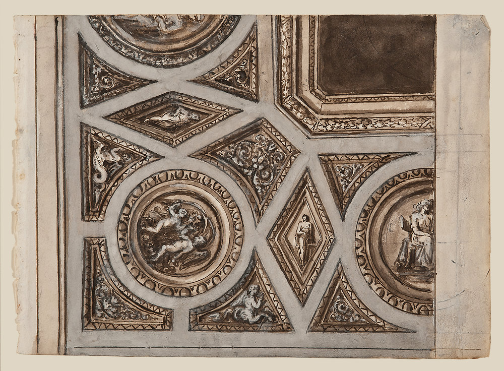 "Italian School, c. 1800,  Architectural Detail 1440,  ink, lavis (wash) and gouache on paper, 14 x 15 1/2"" framed"