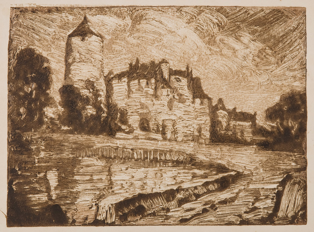 Henri Marchal, French, 1878-1949,  Chateau with Tower,   c.  1917, monotype, 7 x 9 3/4""