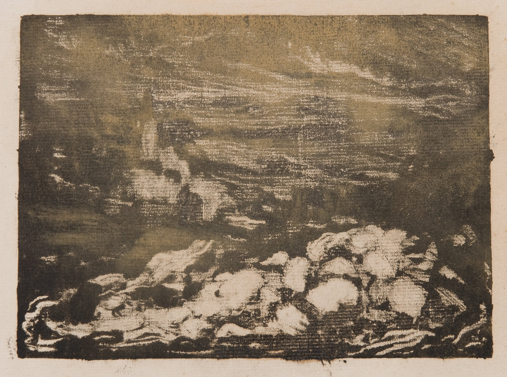 Henri Marchal, French, 1878-1949,  Nocturne with Rocks,  c. 1917, monotype, 5 x 7""