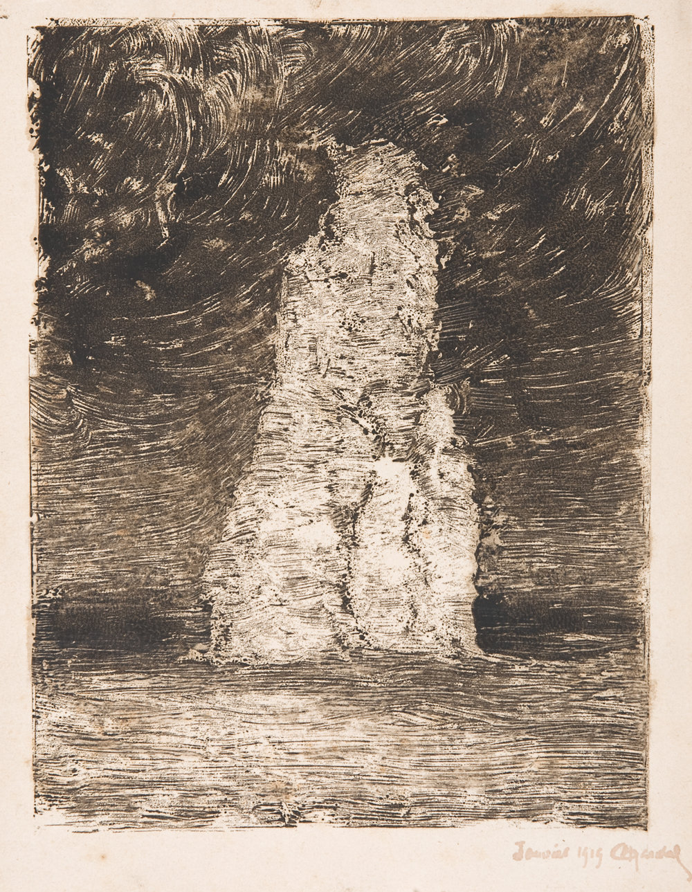Henri Marchal, French, 1878-1949,  Stone in Sea,    1919, monotype, 6 x 7 3/4""