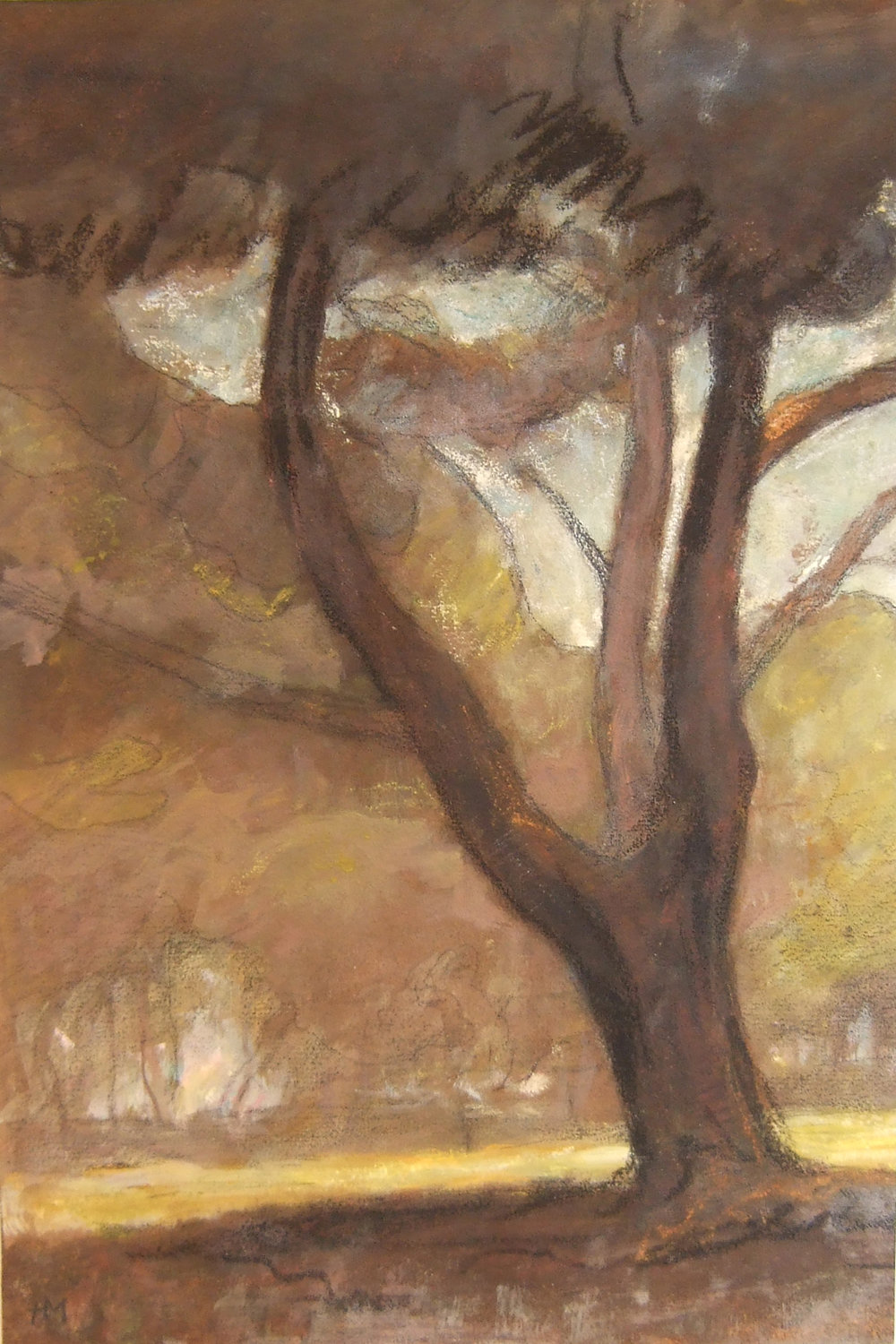 Henri Marchal, French, 1878-1949,  Tree , c. 1917, oil pastel and pencil, 21 x 16""