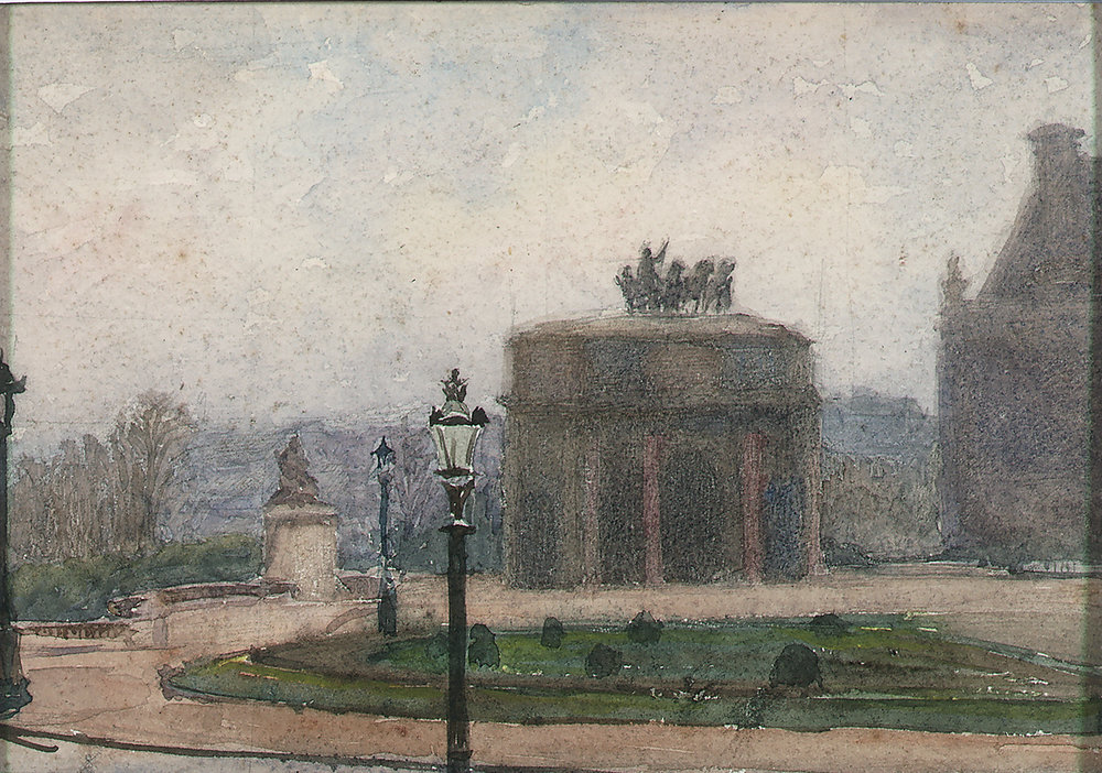 French, early 20th c.,  Parisian Garden with Arch and Street Lamps,  watercolor, 4 3/4 x 6 1/2""