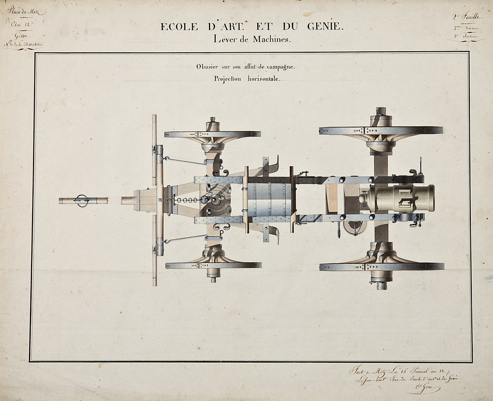 C. Grosse for Ecole d'Art et du Genie, Lever de Machines,  Canon Design: Obusier sur son affût de campagne: Projection horizontale,  pencil and watercolor on paper, 18 5/8 x 23""