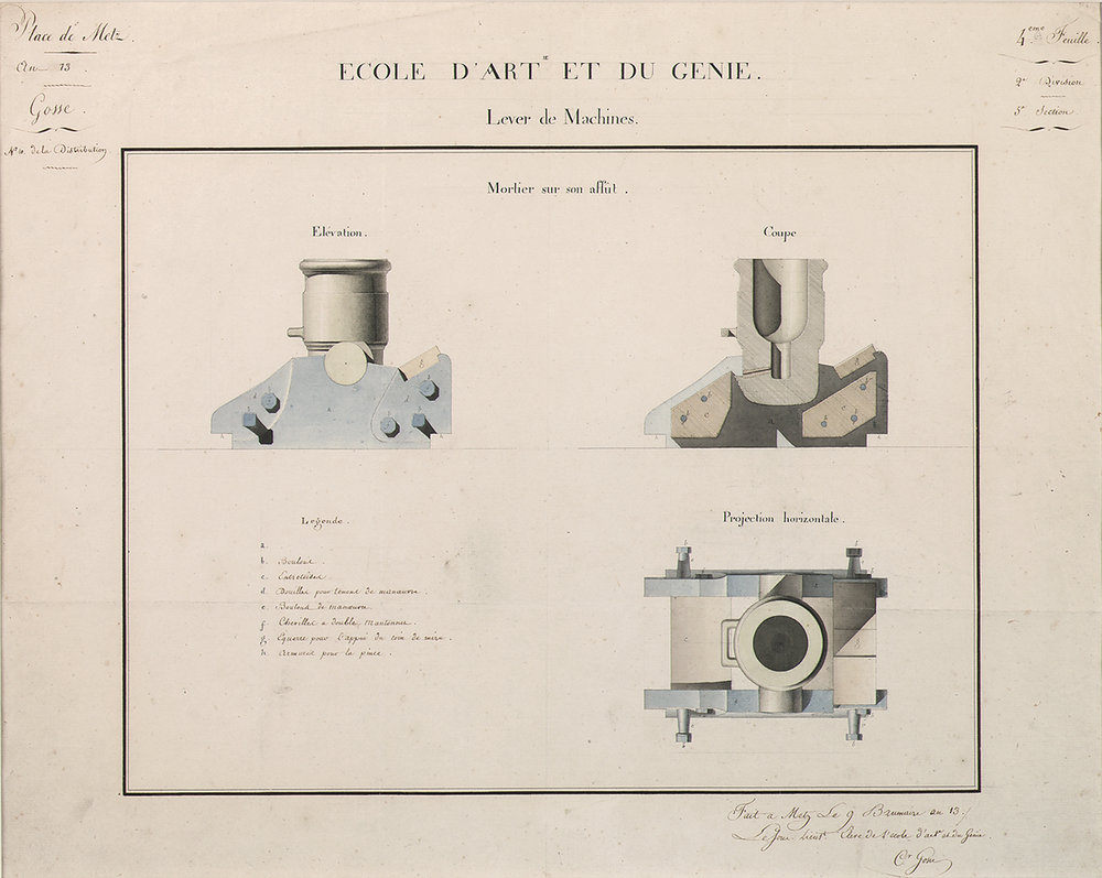 C. Grosse for Ecole d'Art et du Genie, Lever de Machines,  Canon Design: Mortier sur son affût: elévation, coupe et projection horizontale,  pencil and watercolor on paper, 18 5/8 x 23""