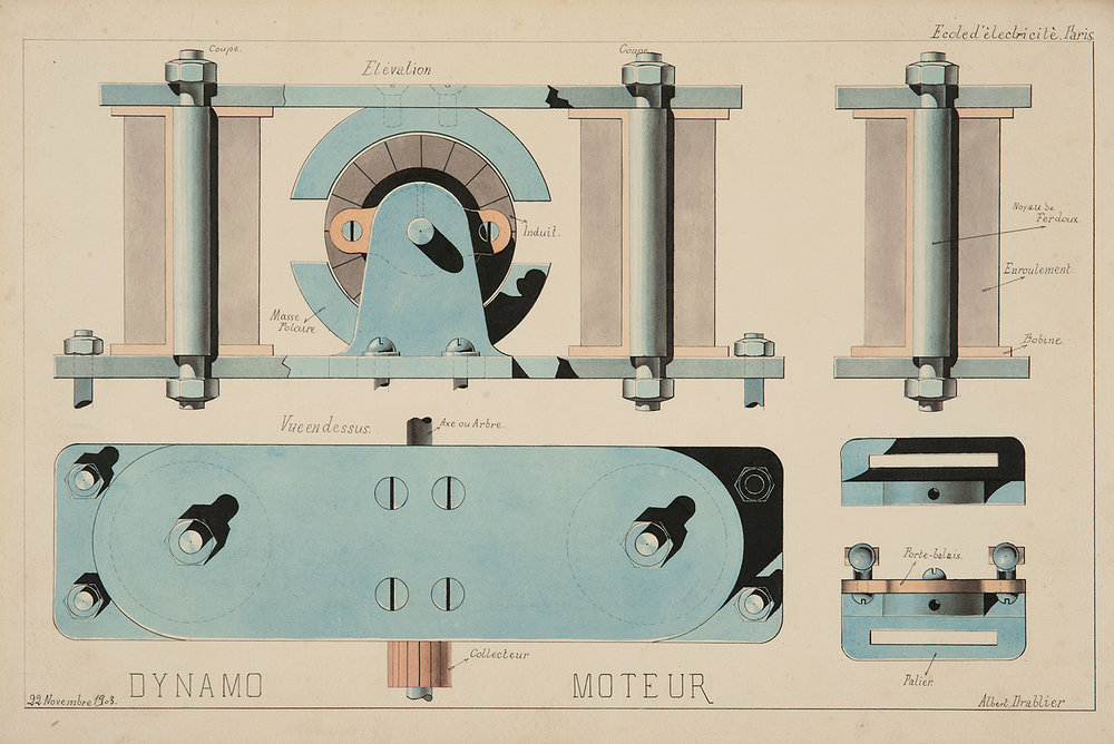Albert Drablier (Ecole d'Electricité, Paris),  Dynamo Moteur,  1903, ink and watercolor on paper, 12 3/4 x 18 1/2""