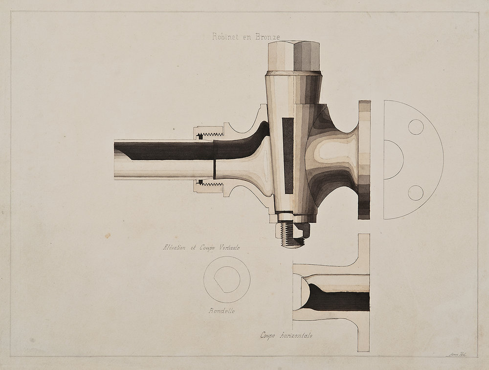 Henri Puet (University of France),  Robinet en Bronze - faucet design,  19th century, ink and watercolor on paper, 19 1/8 x 25 1/4""