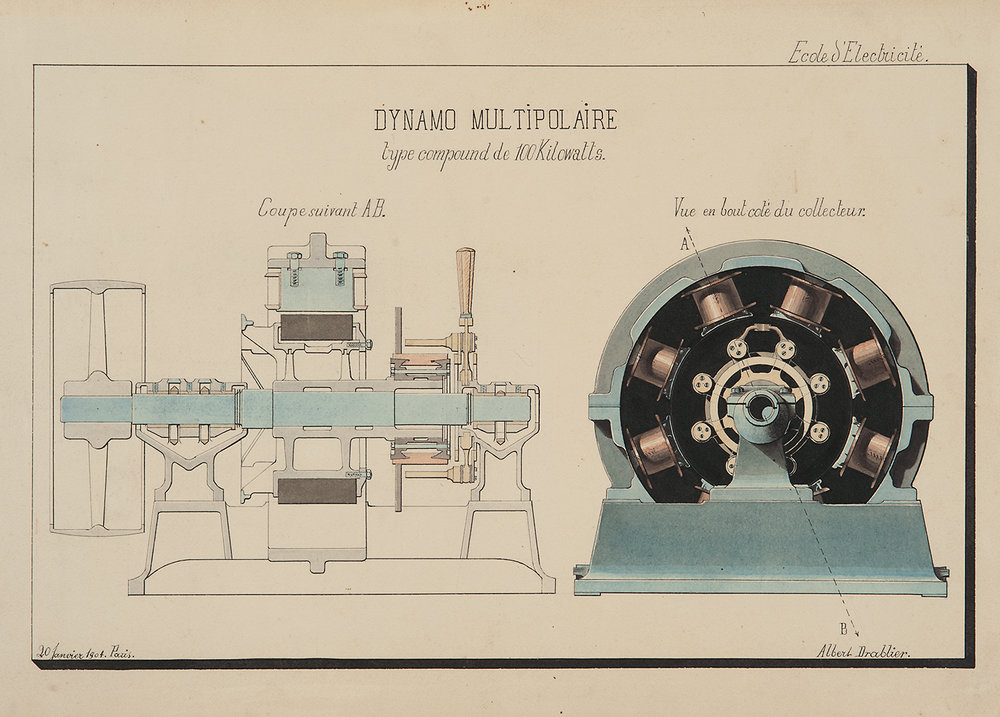 Albert Drablier (Ecole d'Electricité, Paris),  Dynamo Multipolaire,  1903, ink and watercolor on paper, 12 3/4 x 18 1/2""