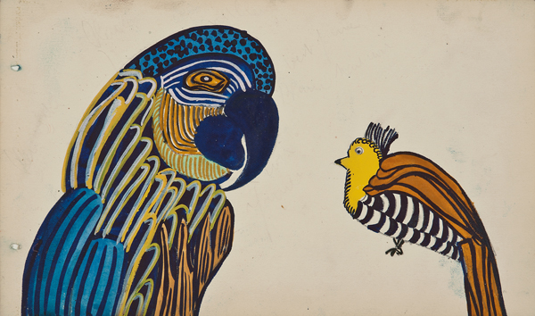 "Martine Le Course Pour Pour Maison Paul Poiret (1879-1944), France,  Design Project: Parrot,  c. 1910, pencil and gouache on paper, 11 x 14 1/4"" framed"