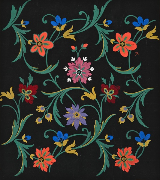 École Lyonnaise, 19th century,  Floral Textile Design,  gouache on paper prepared with black ink, 14 7/8 x 13 1/4""