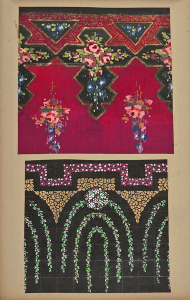 Maurice Leonard (Lyon, 1899-1971),  Two textile designs,  early 20th century, gouache on paper, 19 1/4 x 10 3/8""