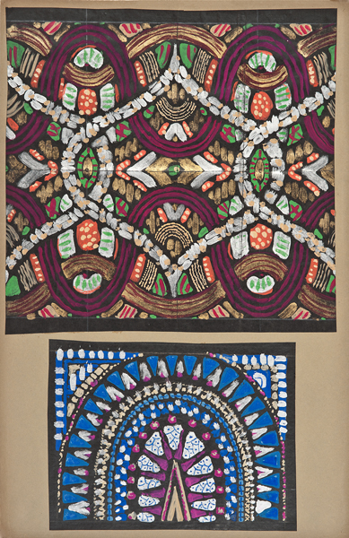 Maurice Leonard (Lyon, 1899-1971),  Two textile designs,  early 20th century, gouache on paper, 20 x 13""