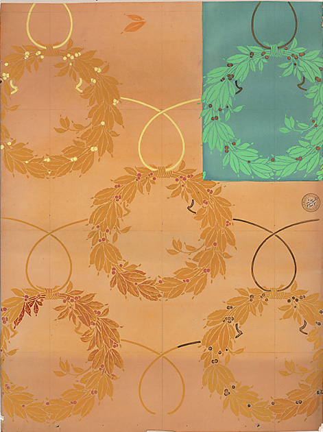 "Armand Segaud (Paris, 1875-1930),  Art nouveau wallpaper design with yellow and green wreaths,  c. 1900, pencil and gouache on paper, 38 5/8 x 30 1/8"" framed"